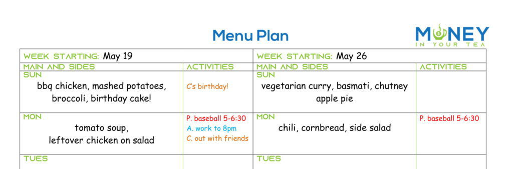 Example of free meal planning template filled in
