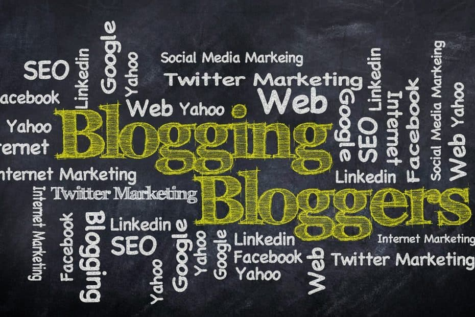 A word cloud of blogging related terms, in yellow and white chalk on a blackboard