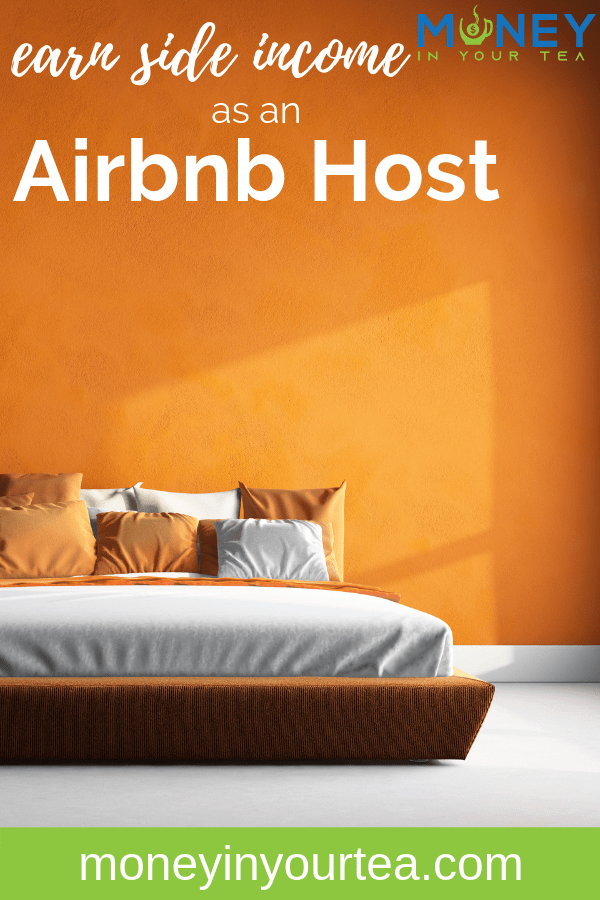 """Bedroom with bright orange wall with text overlay, """"earn side income as an Airbnb host"""" by moneyinyourtea.com"""