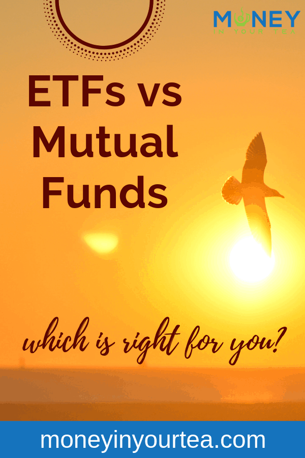 """Sunset with bird in silhouette, with text overlay """"ETFs vs mutual funds, which is right for you?"""""""