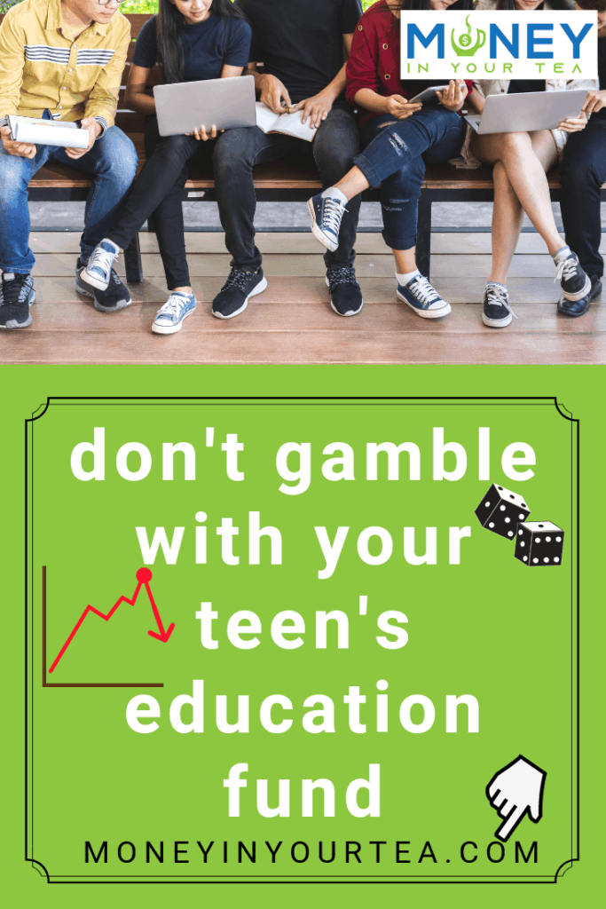 "Teens seated on bench with text overlay, ""don't gamble with your teen's education fund"". Learn more at moneyinyourtea.com"