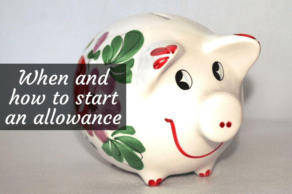 "Piggy bank with text overlay, ""when and how to start an allowance"""