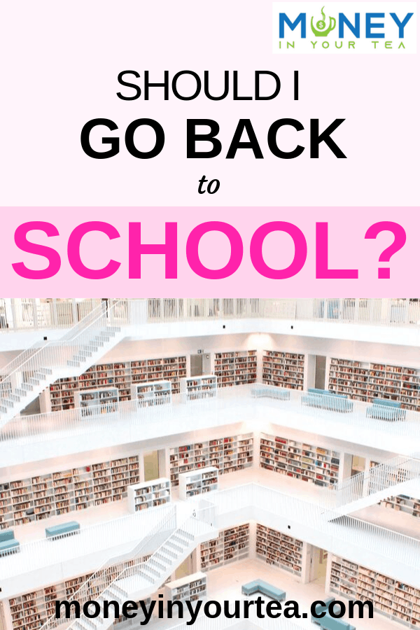 "University library with text overlay, ""Should I go back to school?"" by moneyinyourtea.com"