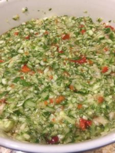Chopped veg for relish