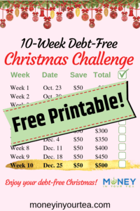 10-week debt-free Christmas challenge, free printable