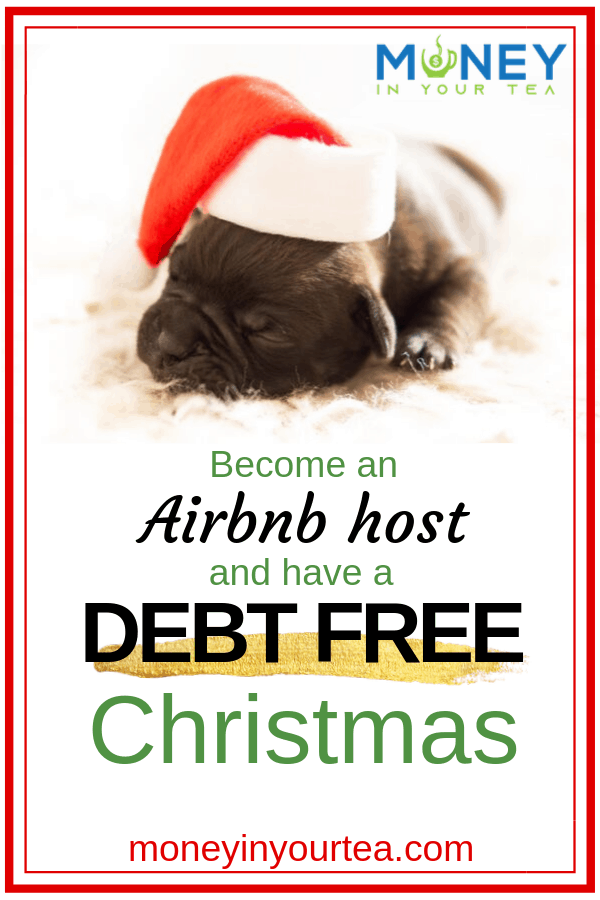 "Sleeping puppy with Santa hat and text overlay, ""Become an Airbnb host and have a debt free Christmas"" by moneyinyourtea.com"
