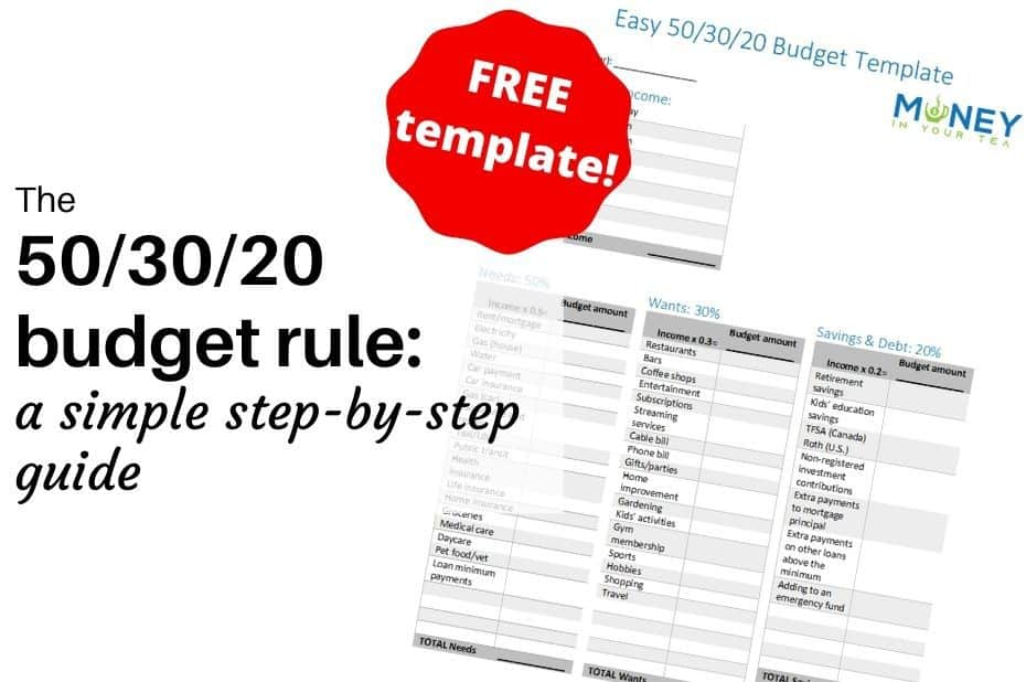 50-30-20 budget rule, free template