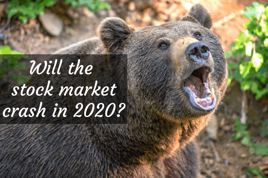 "Bear with text overlay, ""Will the stock market crash in 2020"
