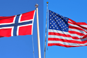 Norway and USA flags.  Discover women of personal finance on #IWD