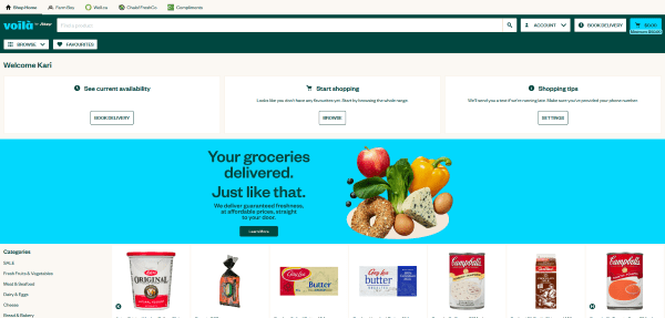 Home page screenshot of Voilà by Sobey's