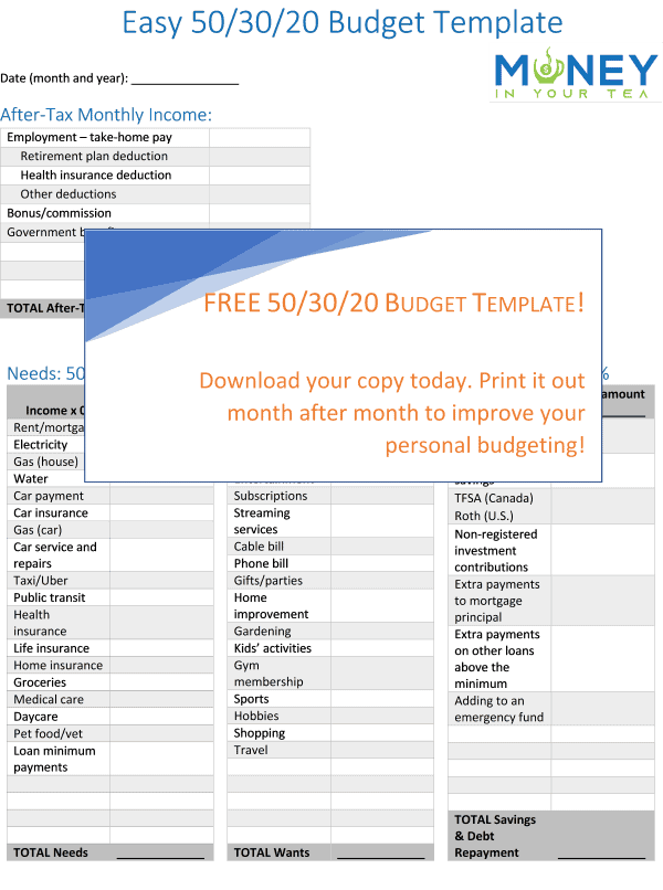 Free 50-30-20 budget template from moneyinyourtea.com