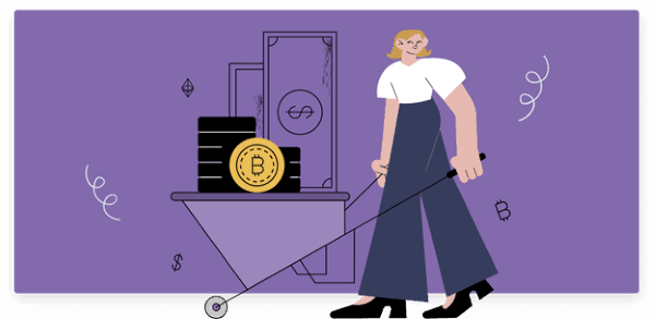 Woman with wheelbarrow of Bitcoin