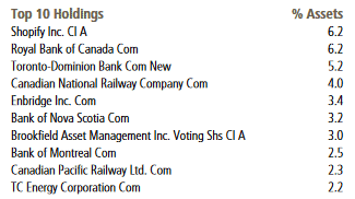 Scotial Canadian Equity Index Fund top 10 holdings